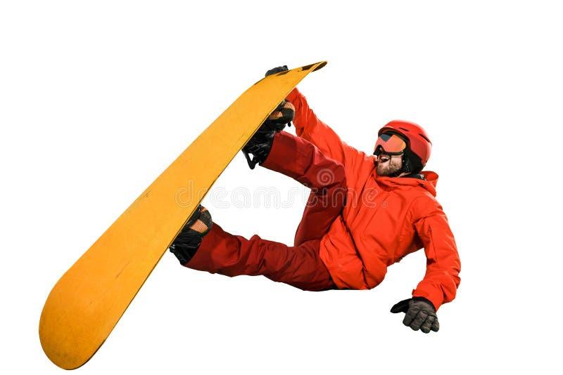Portret van de jonge die mens in sportkleding met snowboard op een witte achtergrond wordt geïsoleerd stock fotografie