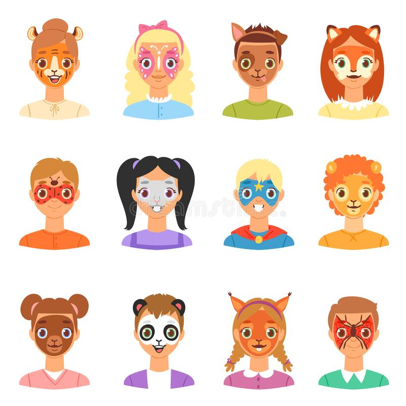 Portret van de jonge geitjes het vectorkinderen van de gezichtsverf met gezichts geschilderd make-up en meisjes of jongenskarakte stock illustratie
