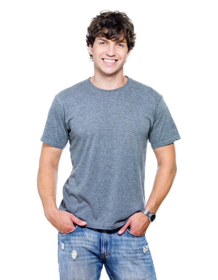 Portret van de jonge gelukkige glimlachende man stock foto's