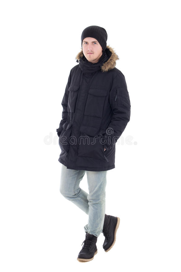 Portret van de jonge knappe mens in de zwarte winter jasje geïsoleerd o stock afbeelding