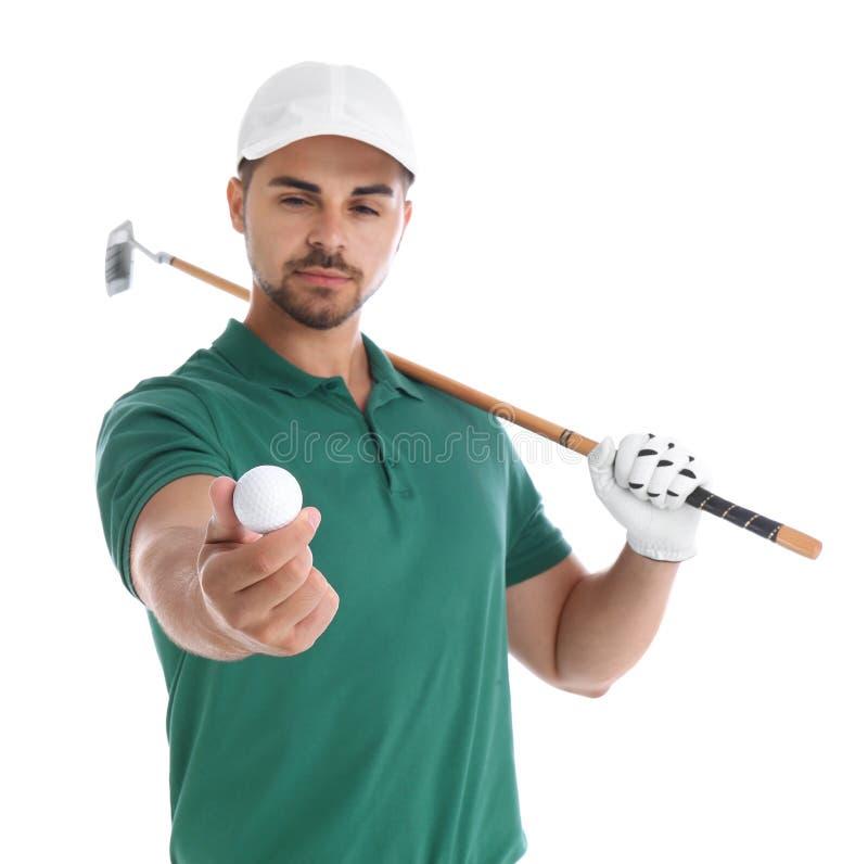 Portret van de jonge mens met golfclub en bal op wit stock foto