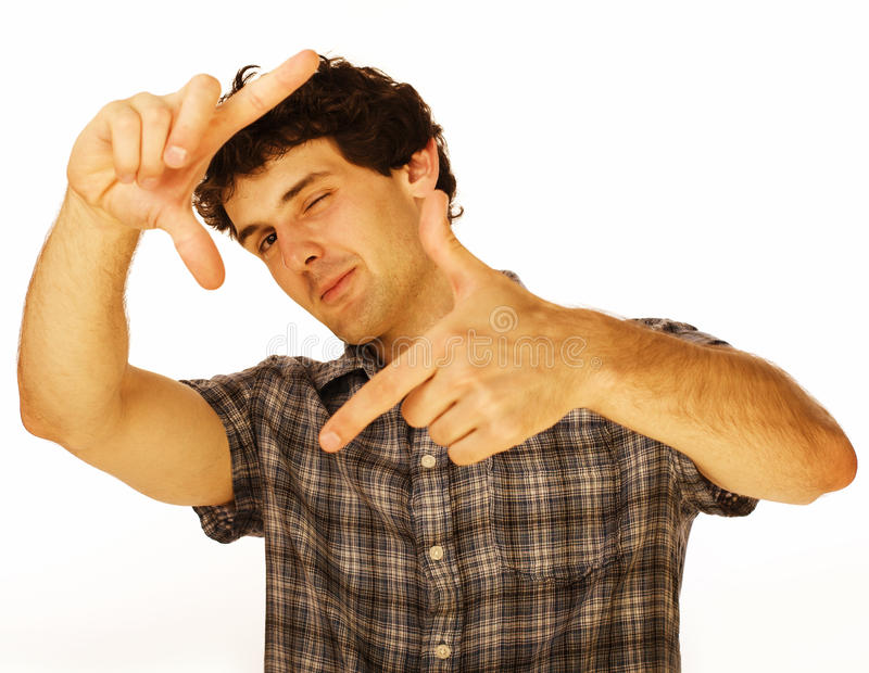 Portret van de knappe jonge mens die cellphone gebruiken stock fotografie