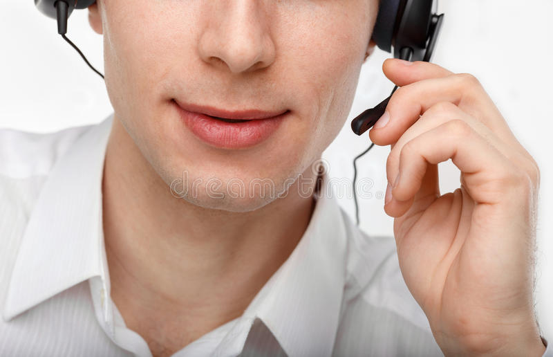 Portret van de mannelijk vertegenwoordiger van de klantendienst of call centre royalty-vrije stock fotografie