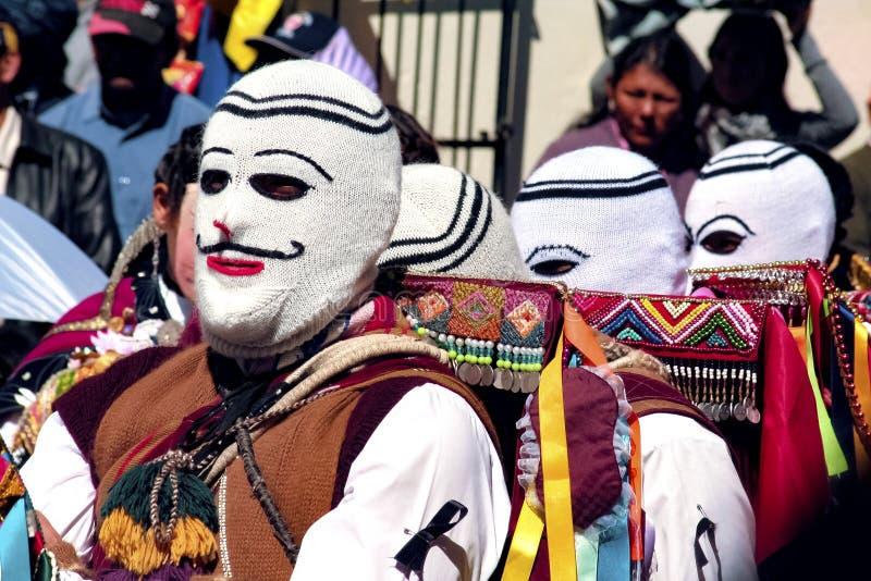 Portret van de mens die een typisch masker dragen bij Paucartambo's-Festival van Virgen del Carmen royalty-vrije stock afbeelding