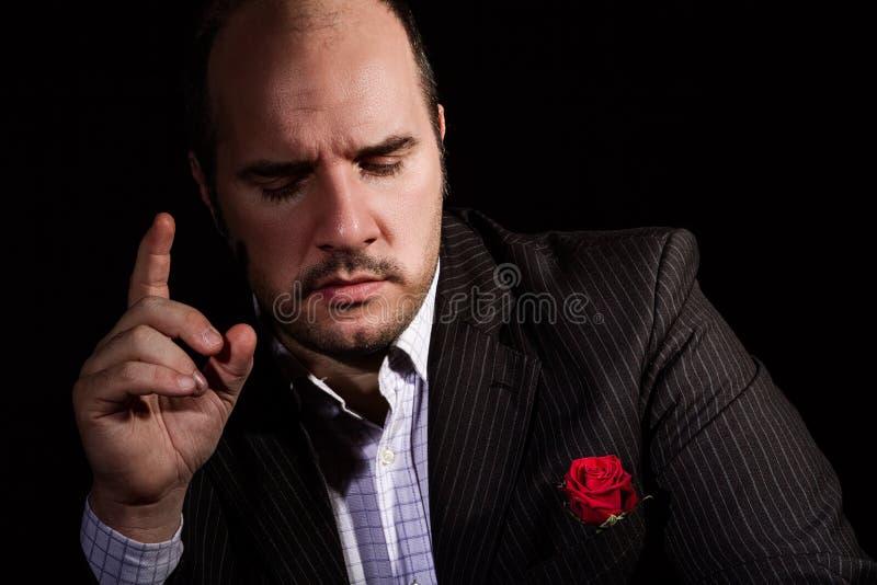 Portret van de mens, peetvader-als karakter stock foto's