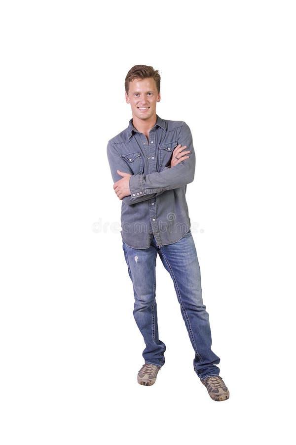 Portret van de modieuze jonge mens stock afbeelding