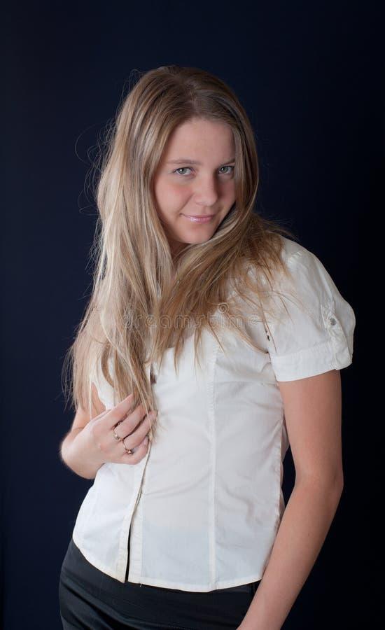 Portret van de mooie blonde stock foto