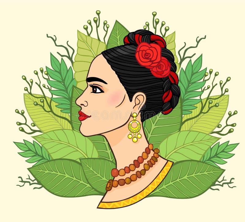 Portret van de mooie Mexicaanse vrouw in oude kleren, een achtergrond - de gestileerde bladeren van installaties royalty-vrije illustratie