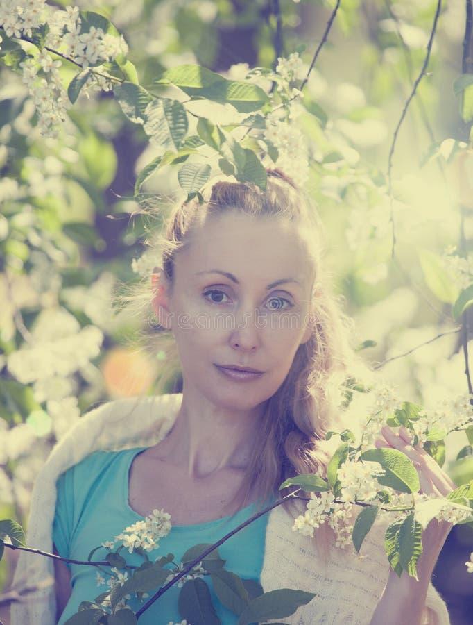 Portret van de mooie vrouw dichtbij een witte vogelkers, wijnoogst stock fotografie