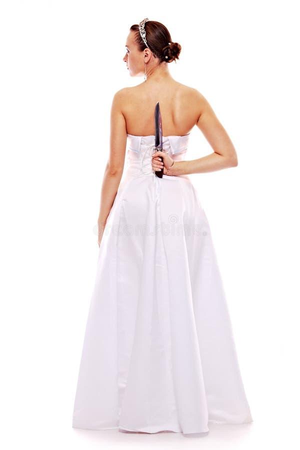 Portret van de mooie vrouw in wit stock afbeeldingen