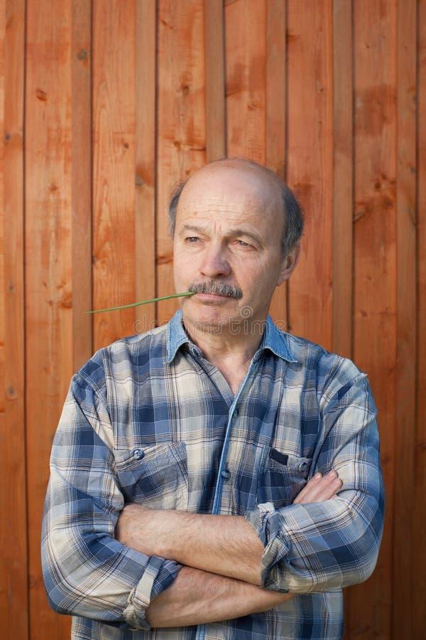Portret van de nadenkende midden oude mens in openlucht stock fotografie