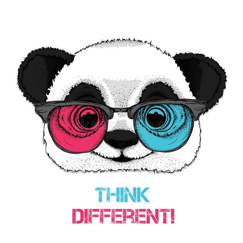 Portret van de panda in de gekleurde glazen Denk verschillend Vector illustratie royalty-vrije illustratie