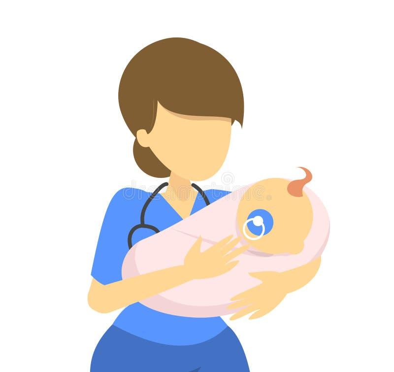 Portret van de pasgeboren artsenholding Medische vrouwelijke werknemer stock illustratie