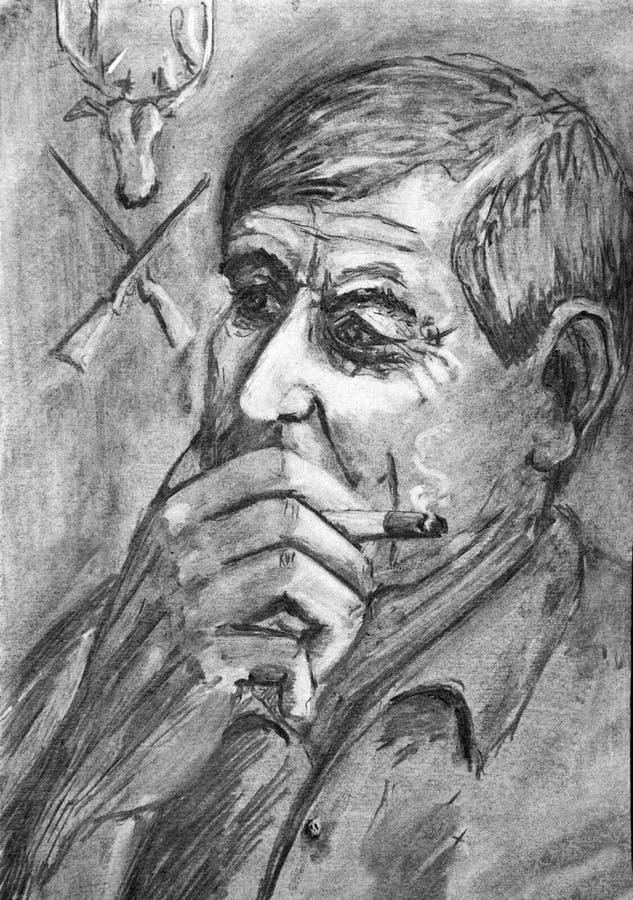 Download Portret Van De Peinzende Volwassen Mens Met Een In Hand Sigaret Stock Illustratie - Illustratie bestaande uit jager, beeld: 107701314