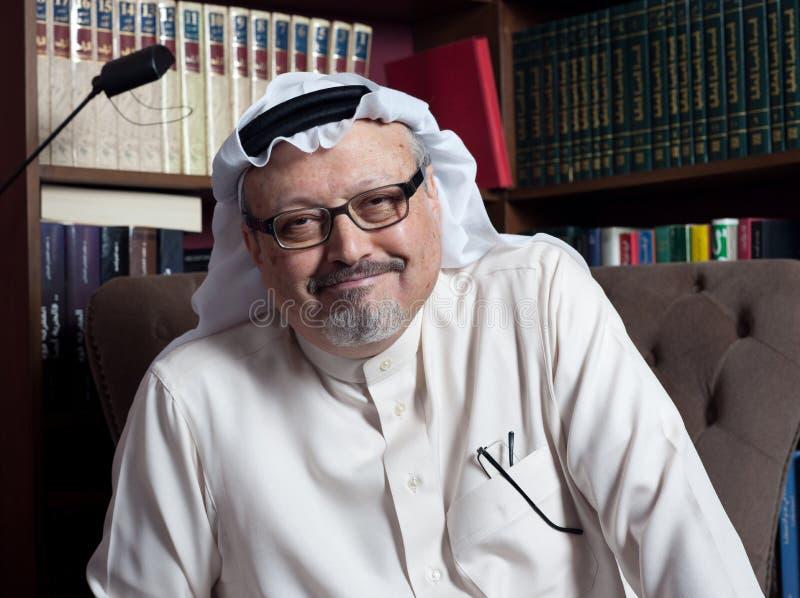 Portret van de Saoedi-arabische journalist Jamal Khashoggi van Washington Post ` s royalty-vrije stock afbeelding