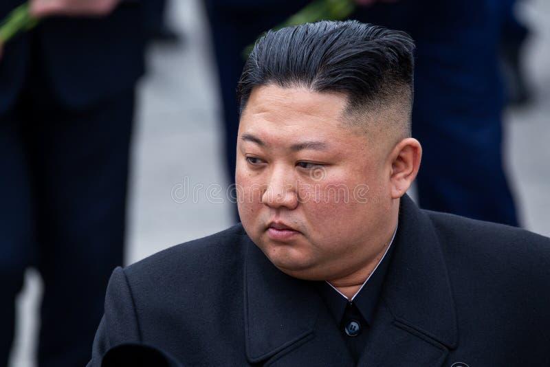Portret van de Secretaresse General van DPRK Noord-Korea Kim Jong Un royalty-vrije stock foto's