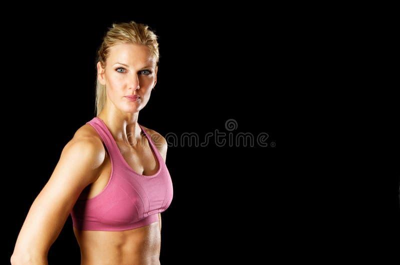 Portret van de Sexy Vrouw van de Geschiktheid met de Ruimte van het Exemplaar royalty-vrije stock fotografie