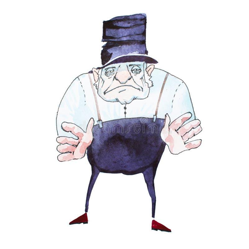 Portret van de sinistere oude mens die zwarte hoge zijden, witte overhemd en broek met bretels dragen die zijn handen bereiken stock illustratie