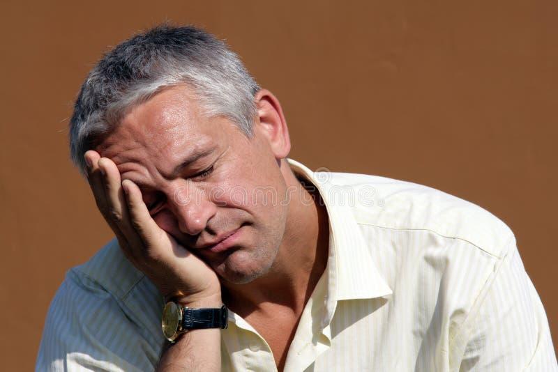 Portret van de slaperige mens royalty-vrije stock foto's