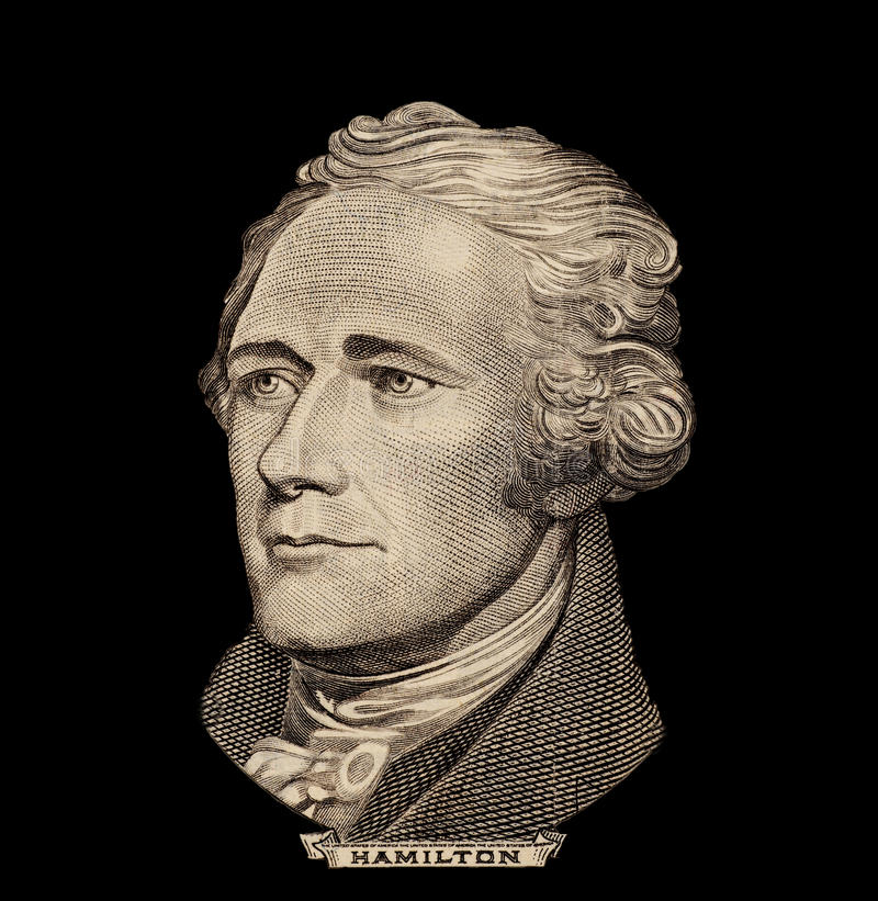 Portret van de staatsman, de uitvinder, en de diplomaat Benjamin Franklin van de V S voorzitter Alexander Hamilton stock foto