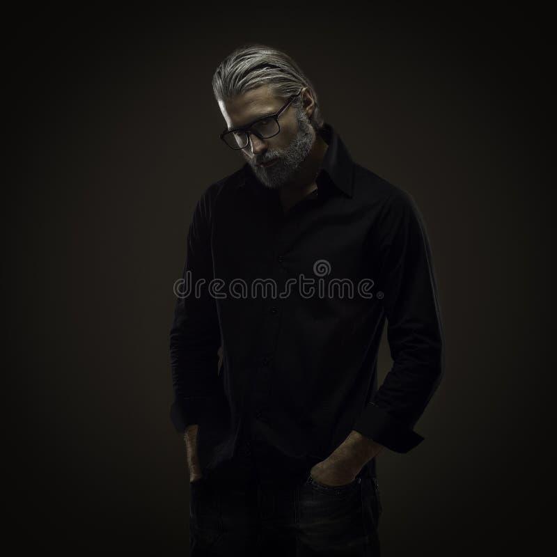 Portret van de taaie oude mens royalty-vrije stock foto