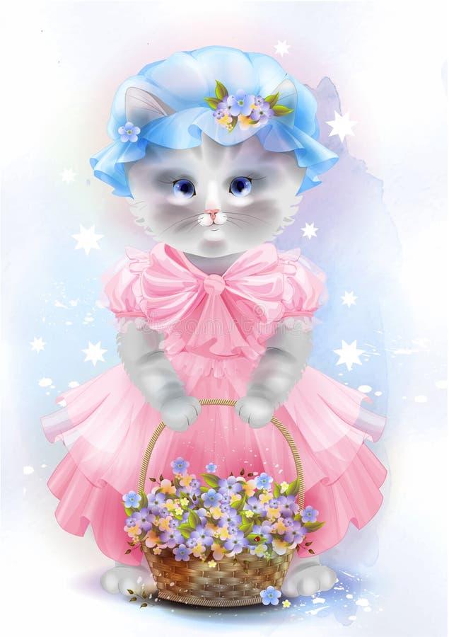 Portret van de uitstekende kat met mand stock illustratie
