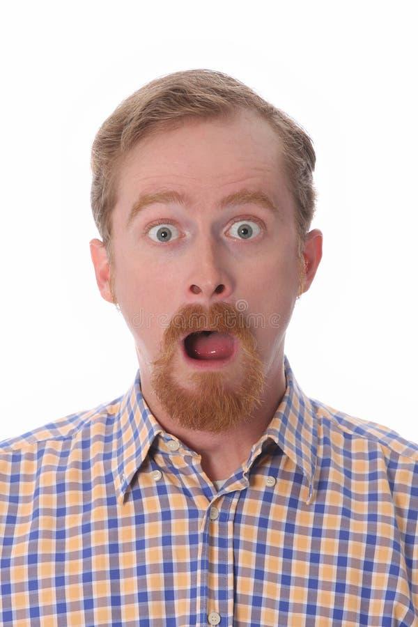 Portret van de verbaasde mens stock foto's