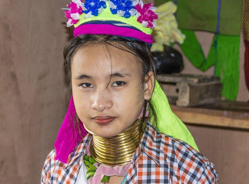 Portret van de vrouw van de padaungstam royalty-vrije stock foto's