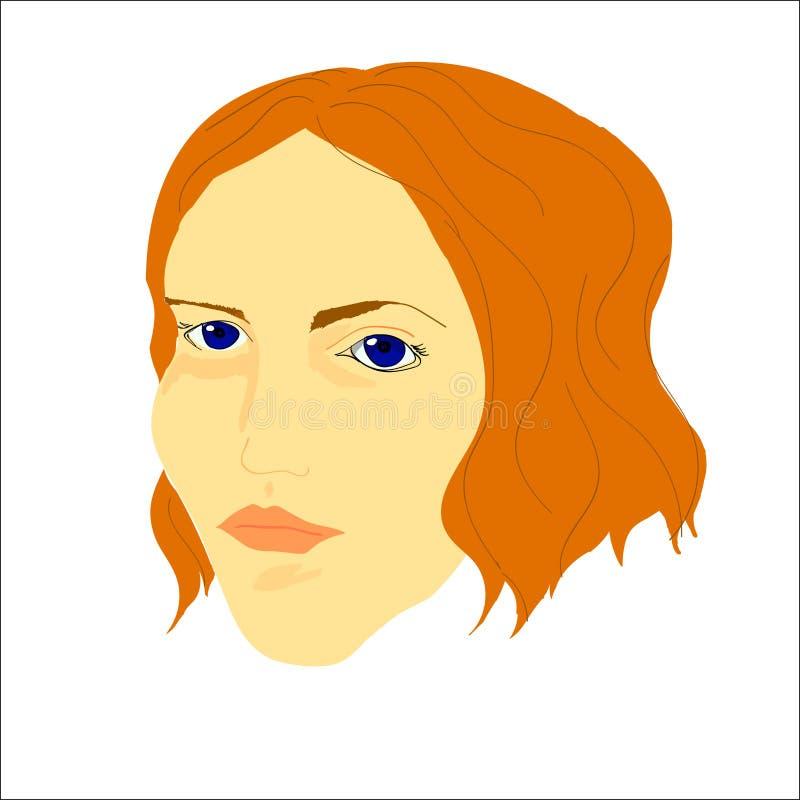 Portret van de vrouw van Yong met kort golvend haar en blauwe ogen stock foto's