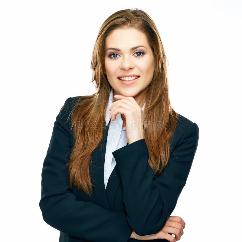 Portret van denkende bedrijfsdievrouw over wit wordt geïsoleerd royalty-vrije stock foto's