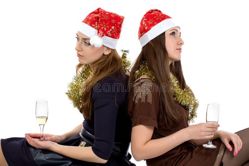 Portret van denkende vrouwen met de glazen stock afbeeldingen