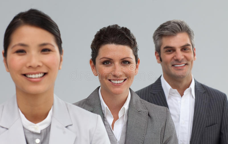 Portret van drie businesspeople het glimlachen stock foto's