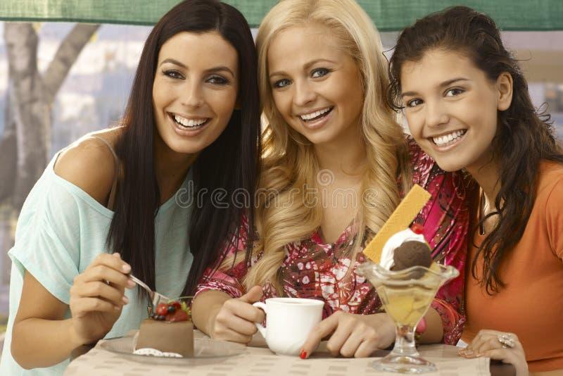 Portret van drie het mooie vrouwen glimlachen stock foto's