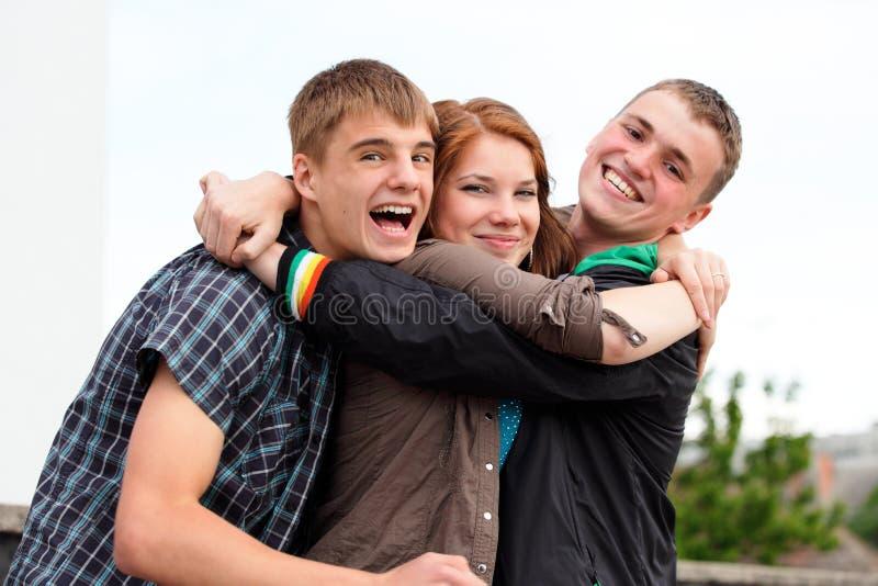 Portret van drie jonge tieners stock foto