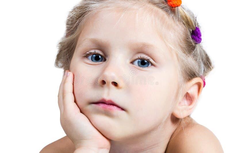 Portret van droevige meisjesclose-up stock fotografie