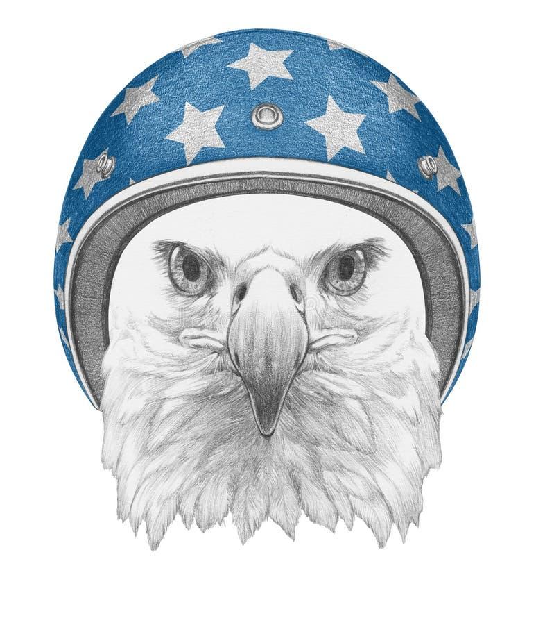 Portret van Eagle met Helm stock illustratie