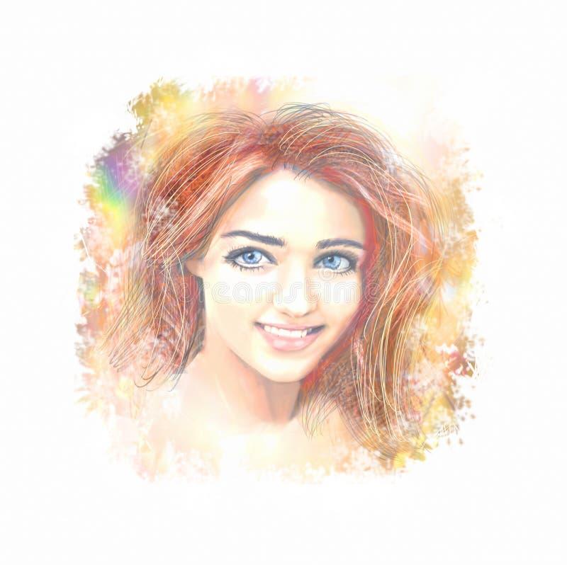 Portret van een één teder jong mooi meisje met lang haar op een lichte abstracte achtergrond Het gezicht van de vrouw stock afbeelding