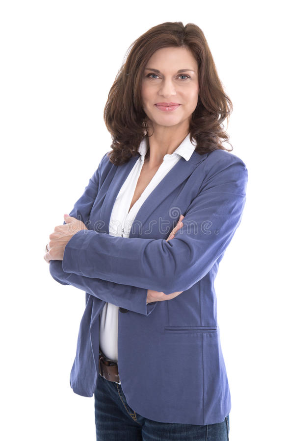 Portret van een aantrekkelijke en gelukkige bedrijfsdievrouw op wh wordt geïsoleerd stock afbeeldingen