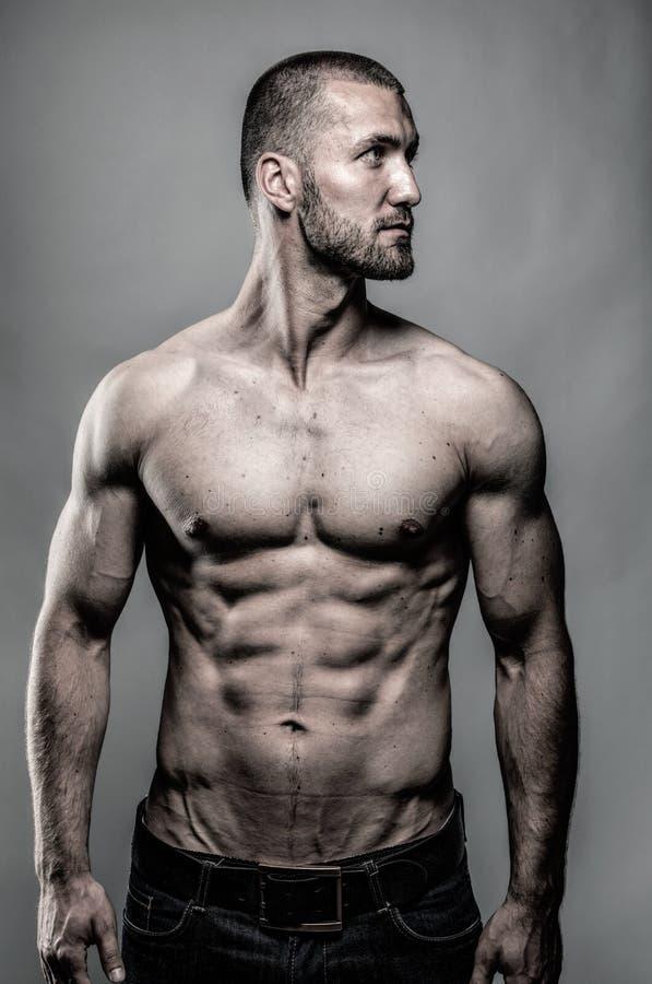 Portret van een aantrekkelijke mens met perfect lichaam royalty-vrije stock afbeelding