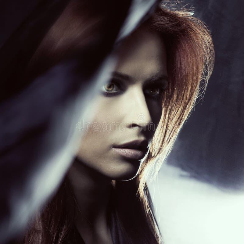Portret van een aantrekkelijke vrouw in blazende zijde stock afbeelding