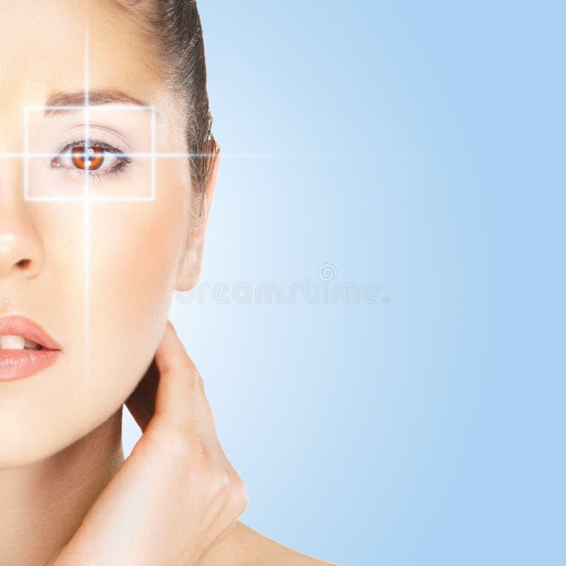 Portret van een aantrekkelijke vrouw op een oogchirurgie stock afbeeldingen