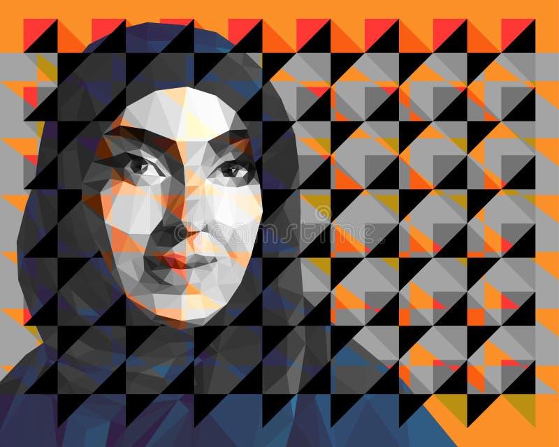 Portret van een Arabische vrouw die hijab dragen stock illustratie