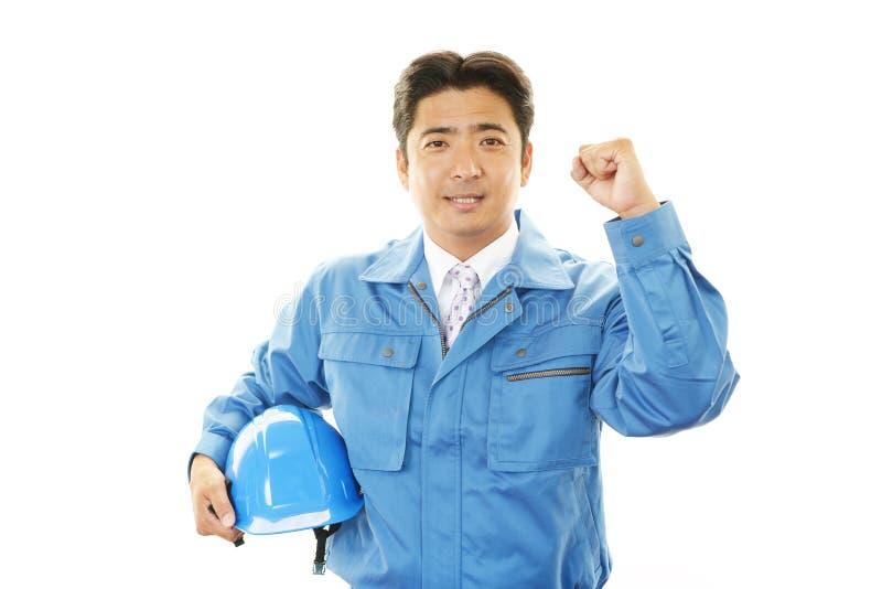 Portret van een arbeider met bouwvakker royalty-vrije stock foto