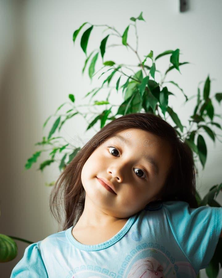 Portret van een Aziatische peuter, 3 jaar oud Erg vrolijk, blij en vol vertrouwen royalty-vrije stock afbeeldingen