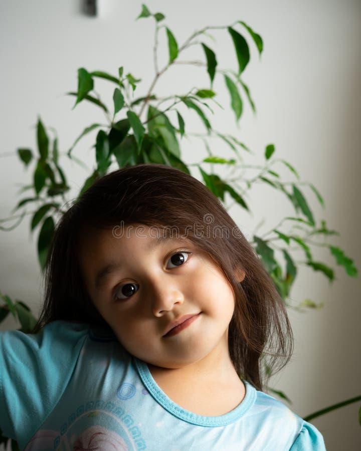 Portret van een Aziatische peuter, 3 jaar oud Erg vrolijk, blij en vol vertrouwen royalty-vrije stock foto
