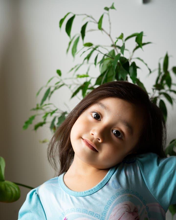 Portret van een Aziatische peuter, 3 jaar oud Erg vrolijk, blij en vol vertrouwen stock foto