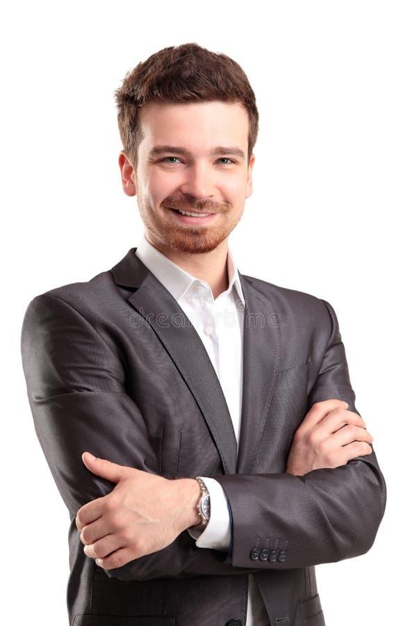 Portret van een bedrijfsdiemens op witte achtergrond wordt geïsoleerd stock fotografie