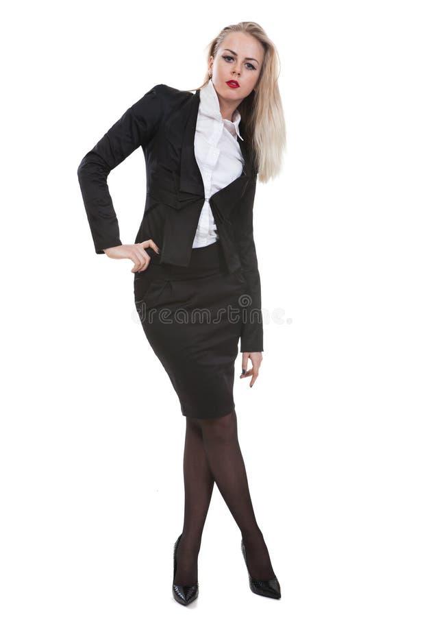 Portret van een bedrijfsdievrouw, op witte achtergrond wordt geïsoleerd stock afbeeldingen