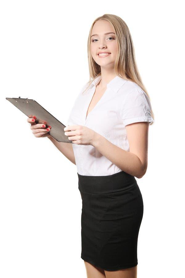 Portret van een bedrijfsdievrouw op witte achtergrond wordt geïsoleerd royalty-vrije stock afbeelding