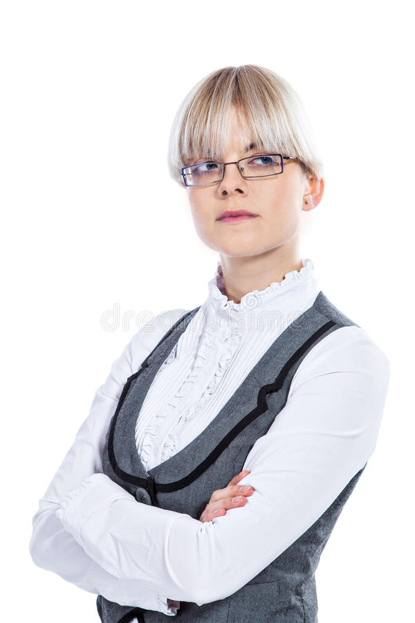Download Portret Van Een Bedrijfsvrouw Stock Afbeelding - Afbeelding bestaande uit handen, geïsoleerd: 29500301
